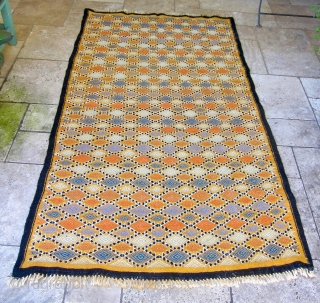 SOLD - Mergoum - flatweave kilim rug from Southern Tunisia, Gouvernement Tataouine. Late 20th century. Vibrant combination of mainly vegetable dyed wool, some synthetic dyed wool in the embroidery, and undyed black  ...