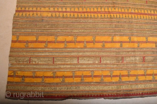 Very Rare Antique Yellow ground Sumatra Tapis with gold treads missing some treads but still very decorative size aprox. 4.00ft x 3.40 ft