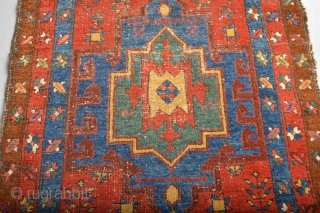 Fabulous Antique Northwest Persian Heriz Area Long Rug 19th century size 317 x 100 cm Soft wool all natural collors. Cleaned and washed by hand. Very rare design decorative  slightly wear and lower  ...