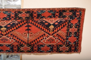 Gorgeous Probably Middle Amu Derya Region Ersari with fuchisine Silk Highlights. 19th century Beautiful Mostly full pile wool. Stuning Patern. Some Spots of old Glue on backside ends. size is appox 170  ...