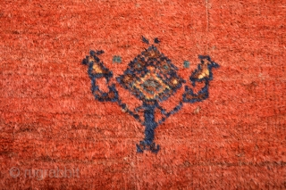 Fabulous Antique Fars Area Sofreh or small rug . 100% Natural Colors and soft lustrous wool ,washed and cleaned, Ready to display on your beautiful wall.. size 89 x 82 centimeters.