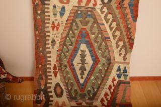 As found Beautiful Rare Patern Whiteground Anatolian Kilim 19th century  size 326 x 90 cm.