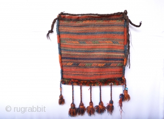 Full Pile and compleet old Senjabi Kurd Bag Clean Meaty wool and the tassels are original Untuched and collection ready 50 x 52 cm.
