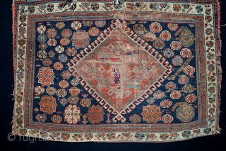 19 th century Afshar bag. Very nice collors, must be washed, a project antique bag ,but decorative , size 79 x 59 centimeters,all the collors are natural.