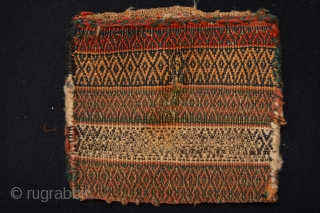 Full Pile Dimunitive Antique Afshar Chanteh with soumak back 25 x 24 centimeters or 10 x 9.5 inches All good colors and collection ready