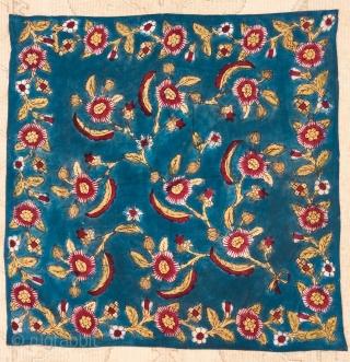"Turkısh Anatolian Block Printed Bokhca. Size:95x95cm/3'1""x3'1"""