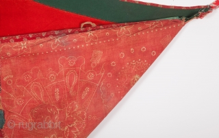 "Turkmen Banat Asmalyk with block print fabric backing late 19th century Size:105 x 67 cm         3'6 x 2'2"""