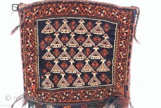 Afşhar pile chanteh with tassel and beads early 20th century size :34 x 28Cm 11 x 11inches