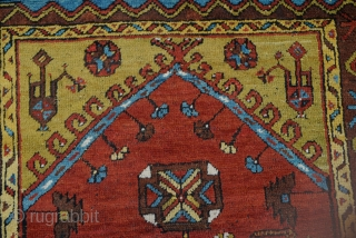 Antique Anatolian Konya Ladik Carpet,This Special Ladik Rug was hand woven by nomad women in Konya, a city in centre of Turkey.19th century
