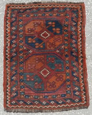 "Old Ersari Yastik with two guls size:62x54cm 2'4""1'9"""