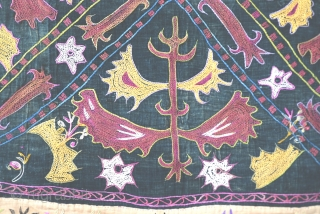 """Kirgiz Mirror cover, silk embroidery with velvet background Traditional Kirgiz designs with great colors. Size: 70x70Cm 28""""x28"""" Circa : 1900s."""