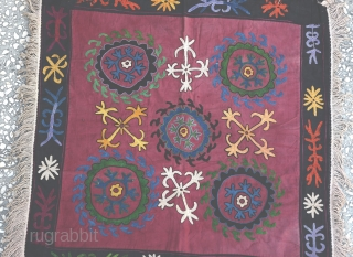 a beautiful Old Silk  and Cotton Suzani Embroidered-Size:75x75Cm