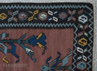 "antique Karabag kilim,great condition Size:146 x 231 Cm 4'10"" x7'9"""