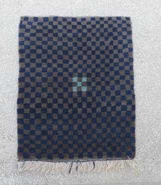 "Anatolian Tulu Rug with nice checkers  Size:110 x 138 Cm          3'7""x4'7"""