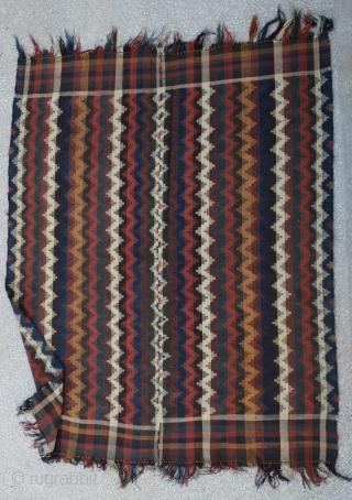 "Qashkay Moj blanket Kilim In good colors,two small repaired Circa 1900th Size:184 x 226 Cm          6""x 7'4"""