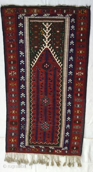 "Central Anatolian (KONYA) prayer Kilim Rug  End of 19th Century Size=220X121cm / 7'2""X4"""