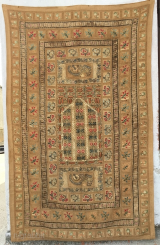 "Ottoman Greek embroidery arched prayer panel known as a quibla.Size:180x110cm/5'10""X3'8"" 