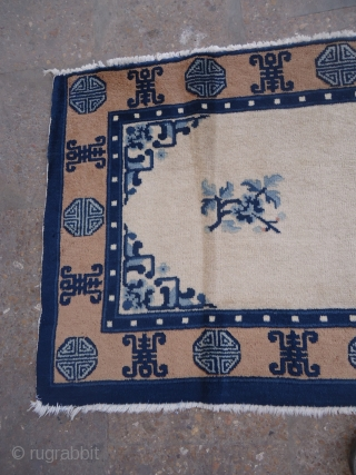 "Chinese Ivory Ground Rug with good colors,condition and age,Size 4'8""*2'2"".E.mail for more info and pics."