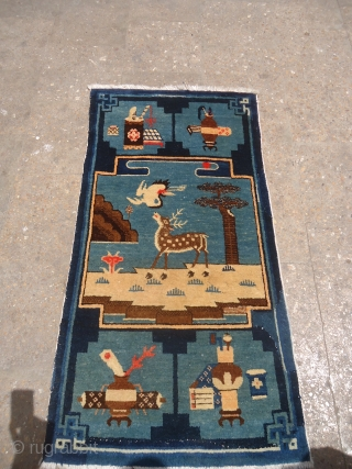 "Chinese Rug with exceptional drawing of Swan and Deer all good colors and great condition,good age.Size 3'10""*2ft.E.mail for more info and pics."