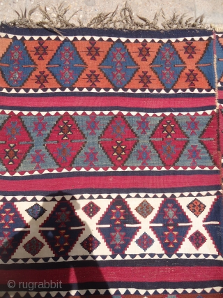 "Colorfull Anatolian kilim with beautiful natural colors and very fine weave,good condition and age.Size 9'2""*4'10"".E.mail for more info and pics."