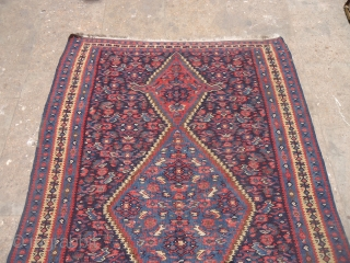 "Beautiful Senneh Kilim with good colors and very nice design,good condition with old restorations done.Size 5*3'6"".E,mail for more info and pics."