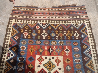 """Large colorful Qashqai Kilim with all good color,fine weave.Size 9'7""""*5ft.E.mail for more info and pics."""