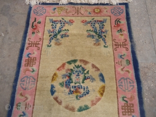 Chinese or Tibet Rug with 5 dragons and nice design colors,good condition.without any repair or work done.E.mail for more info and pics.
