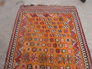 "Qashqai kilim with mustard ground good colors and design,nice condition.Size 8'7""*5'3"".E.mail for more info and pics."