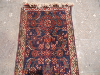 "Small Qashqai Rug with blue ground and nice design,old repairs done.Size 3'10""*1'10"".E.mail for more info and pics."