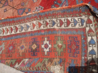 "Anatolian Prayer Rug fragment with colors and age,nice design.Size 3'9""*3'5"".E.mail for more info and pics."