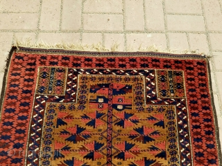 "Camel ground Baluch Prayer Rug with silk highlights and beautiful border,soft shiny wool,all natural colors,very fine weave,kilim endings,all original without any work done.Size 4'4""*2'11"".E.mail for more info and pics."