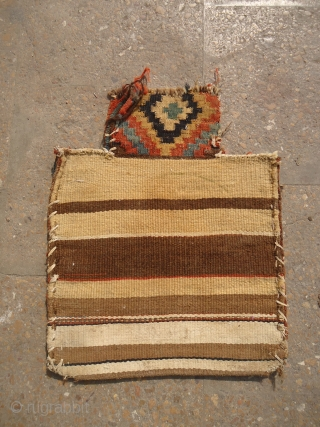 "Shahsavan Piled salt bag with great natural colors and very nice design,original  kilim backing.Size 1'6""*1'2"".E.mail for more info and pics."