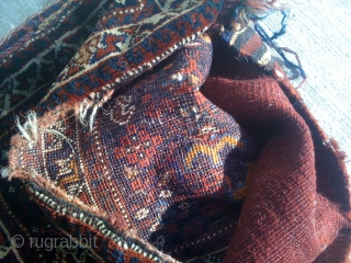 Khamseh/Shiraz Bag face with its back kilim.
