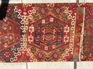 Turkish Kilim with date and signature. As most of you know these are made with two panels attached together and the design from two halfs never lineup. This one does perfectly. That's  ...