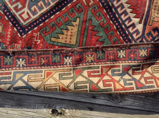 """For sale is a 1890's caucasion, Shirvan, 3'6""""x 5'3"""" with low to medium pile. Three very small areas of repair. Sides rewrapped, missing minor guard border both ends; vegetable colors."""