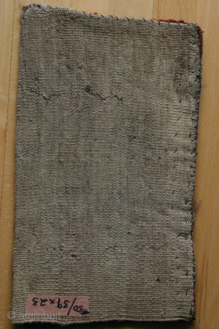 (50) Jomud Igsalyk torba, 24 x 39 cm., perfect condition, original bag used for storing the all important drop-spindle used to hand-spin wool for use in weaving and knotting rugs and trappings  ...