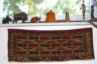 (8) Tekke Torba, 30 x 75 cm, late 19th c., ultra-fine but no bumps on the back, fringe conserved and one small repair to the upper-end kilim. This showroom-ready piece is perfect  ...