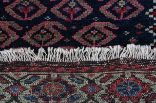 {89} 68 x 59 cm. Rare, green-border Afshar bag face. Full pile, cotton warp, double-wefted, good colors, selvage added. For sale at cost. -Kolya
