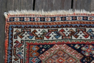 {67} Antique Afshar bag face, 64 X 58 cm, high quality, very finely knotted, wool on wool, veg. dyes, feels like silk. Edges conserved.