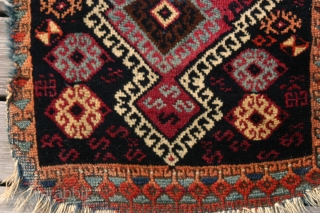 "{77} Kurd Yastik, 45 X 81 cm, in decent condition for its age, stunning ""modern"" design, unrestored. 