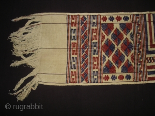 Ceremonial Mans Stole From Bhutan,North East India.This is known as kushang And its woven from wild silk on Cotton with supplementary weft patter.Its size is 28cmX198cm. Good Condition(DSC03901 New).