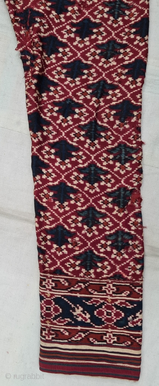 Ejar (Trouser) Silk Double Ikat,Probably Patan Gujarat. India.This Patola Design Ejar known as Tran-Phul-Bhat (there flowers design) Design. C.1825-1850. Its size is W-115cm, L-103cm (20210211_145239).