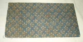 Sutra Book Cover,Khadi Cotton On Indigo base colour with flower design,From Rajasthan. India.Circa 1900.Its size is 16cmx28cm(DSC04370 New).