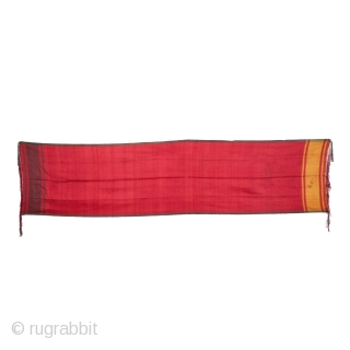 Sash or Turban on Silk,Late 19th Century from Khiva, Uzbekistan Central, Asia.Its size is 76cmX307cm(IMG_2317 New).