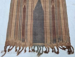 Raffia Ikat Prayer Mat, of Sakalaya People,West coast of Madagascar Africa ,Warp Predominant Plain-weave, Warp-resist Dyeing ikat.  Its size is 81cmX90cm (20210615_151935).