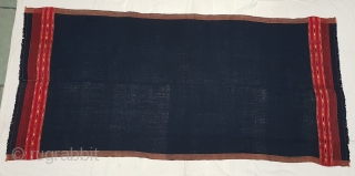 Waziri Shawl (Indigo Blue Dark Black Type Colour) for Man From Waziristan, Pakistan. India.C.1900.Natural Dye with Hand Woven Cotton and silk ends,with silk end borders.Its size is 102mX224cm(20181208_155003).
