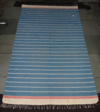 Indigo Blue,Jail Dhurrie(Cotton) Blue-White  Colour striped Dhurrie.From Bhuj Jail, Kutch-Gujarat. India.C.1900.Its size is 170X280cm (Large Size). Condition is very good(DSC06989).