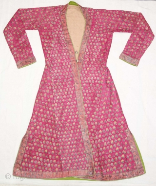 Mughal Buti Choga (Man's Costume) Silk, Brocade with Silk thread and Real Gold Zari (Real Gold and Silver), Probably from Northern India. India. Late 19th Century. Its size is Length-115cm, Width-65cm, Sleeve-  ...