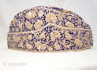 Nawabi Topi (Hat) Zardozi Embroidered on cotton velvet, With Real Silver Thread with Gold Polish, From Varanasi, Uttar Pradesh, India. India.Late19th Century.