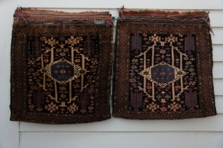 This is a separated pair of late 19th C. Kurdish bags in the esteemed design of the famous McMullan example. Even later versions like this pair in the design are still quite  ...